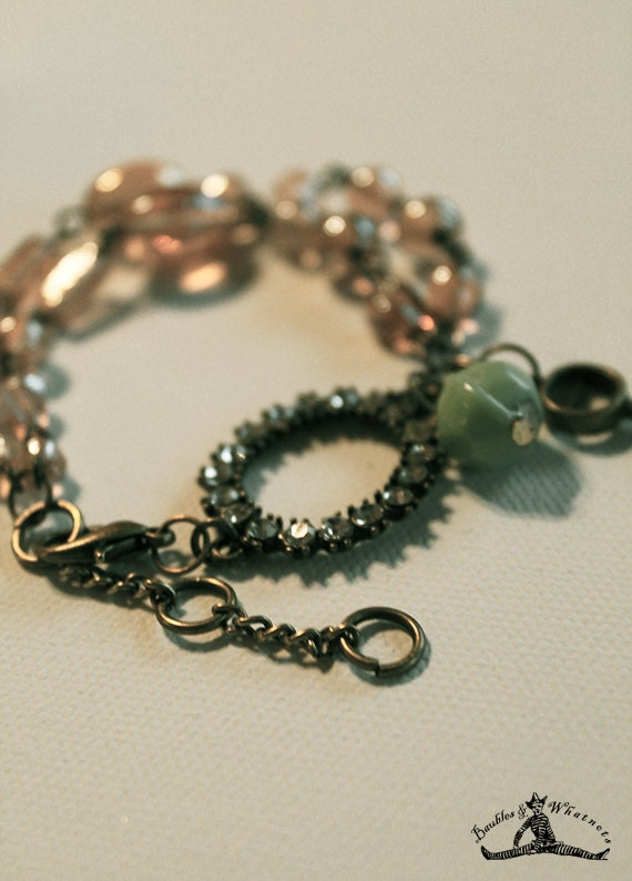 Chain Bracelet - Vintage Inspired - Tea Colored Glass Beads - Aqua Glass Bead - Rhinestone and Vintage Brass - OOAK