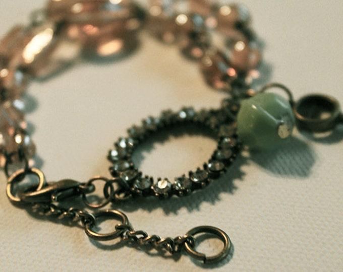 Chain Bracelet - Vintage Inspired - Tea Colored Glass Beads - Aqua Glass Bead - Rhinestone and Vintage Brass - OOAK