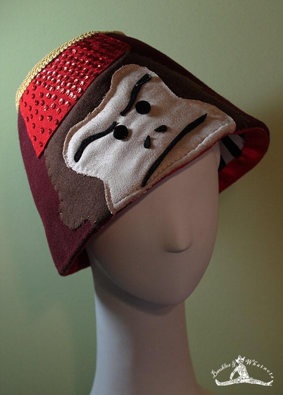 Fez Hat - Unisex Wool Monkey Fez Hat - Novelty Fez Hat - Handmade Fez Hat - OOAK