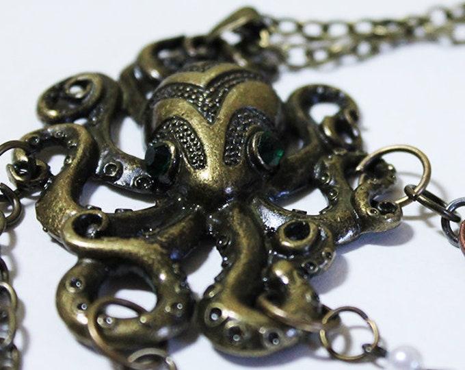 """Octopus Necklace - Unique 24"""" Long Vintage Gold Octopus Necklace - OOAK"""