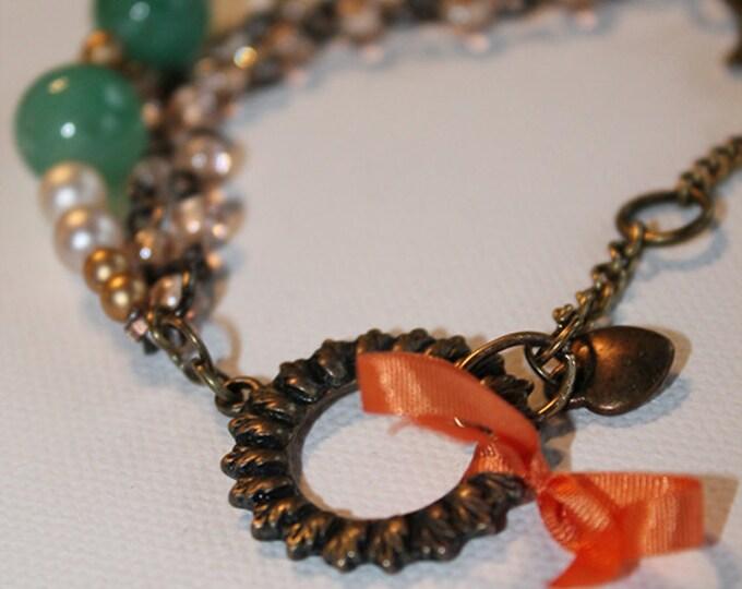 Chain Bracelet - Vintage Inspired - Pearl & Jade Beads - Rhinestone and Vintage Brass - OOAK