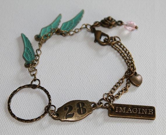 Charm Bracelet - Boho Vintage Style - Wing Charms - IMAGINE Charm - Vintage Gold - OOAK