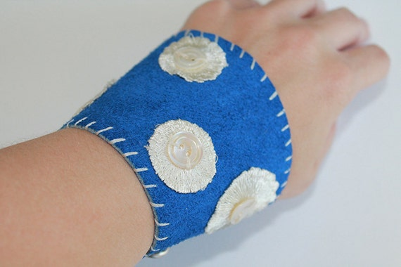 Leather Cuff Bracelet - Blue Suede Polka Dot Leather Cuff Bracelet with Vintage Mother-of-Pearl Buttons - OOAK