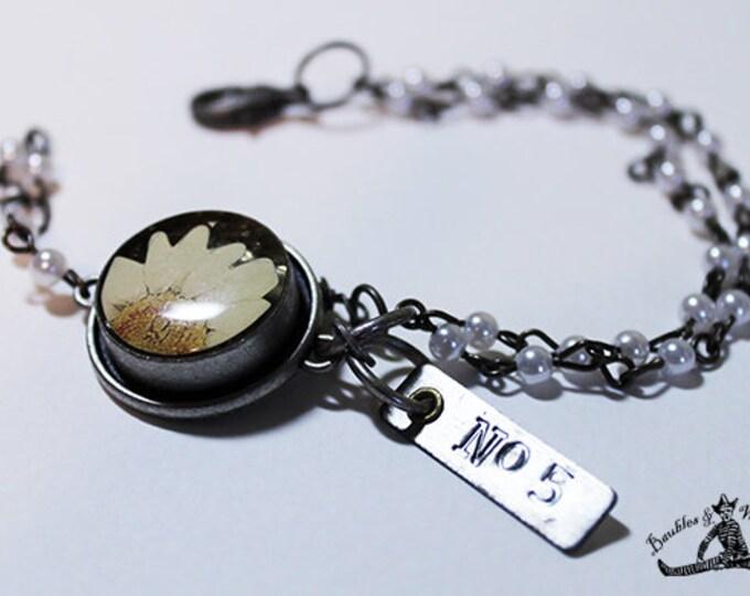 Charm Bracelet - Boho Vintage Beaded Bracelet - Dried Flower Charm - No. 5 Charm - Vintage Pewter - OOAK