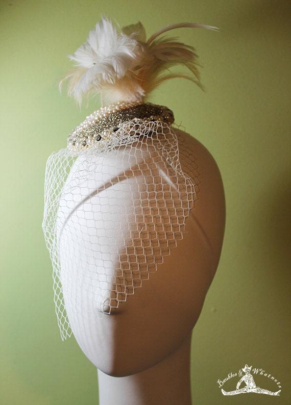 Bridal Fascinator - Hand Beaded with Feathers & Veil - Beaded Wedding Fascinator - Vintage Style Wedding Fascinator - OOAK