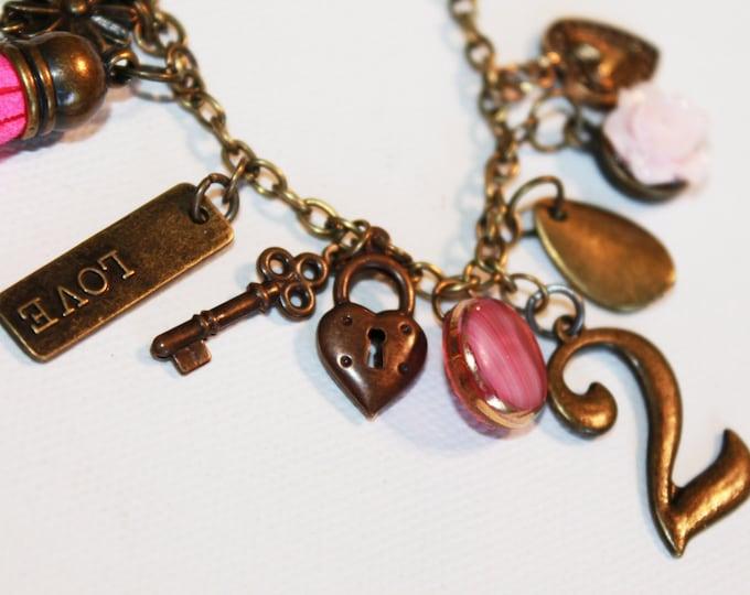 Charm Bracelet  - Pink and Gold - Heart Locket Key 2 Charms - Heart Locket Bracelet - OOAK