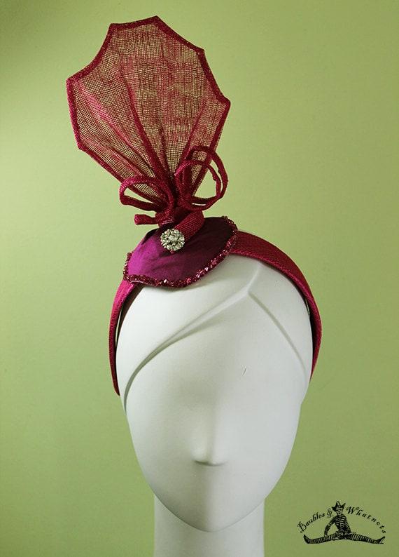 Magenta Headband - Art Deco Headband - 1920s Style Black / Magenta Colored Headband - Flapper Headband - Bridal - OOAK