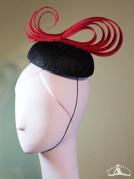 Beaded Fascinator - Red and Black Paisley Swirl - Unique Fascinator - Unique Summer Fascinator - Derby Fascinator - OOAK