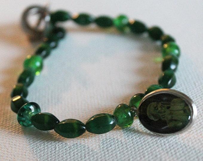 Demon Charm Bracelet - Vintage Inspired Green Glass Beaded Bracelet - Halloween Bracelet - Goth Bracelet - OOAK