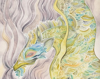 Imperial Jade Dragon Giclee print by Megan Noel
