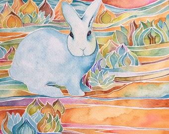 Blue rabbit giclee  print by Megan Noel