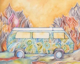 Vagabond VW Bus Giclee print by Megan Noel