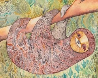 Sloth Print by Megan Noel