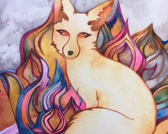Autumn Fox original watercolor by Megan Noel