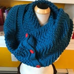 Fan and Feather Blue Ochre Mega Cowl with Contrasting Thread and Buttons