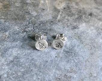 Sterling Stamped Wee Bee Stud Earrings