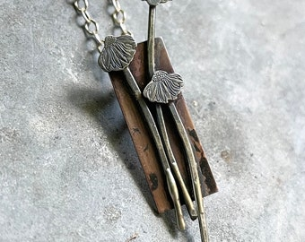 Hand Built Sterling Daisy on Copper Necklace