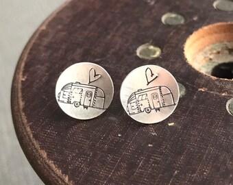 Sterling Stamped RV Camper Heart Stud Earrings