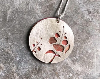 Sterling Silver Double Fireweed on Oxidized Copper Necklace