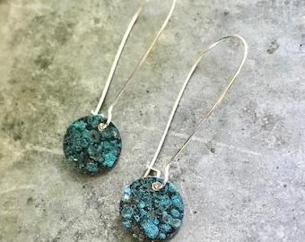 Small Blue Copper Earrings