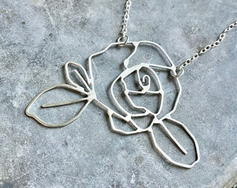Hand Built Sterling Silver Rose Necklace