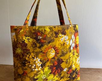 womens bag vintage fabric blue 70/'s fabric printed bag cloth tote bag Floral book bag