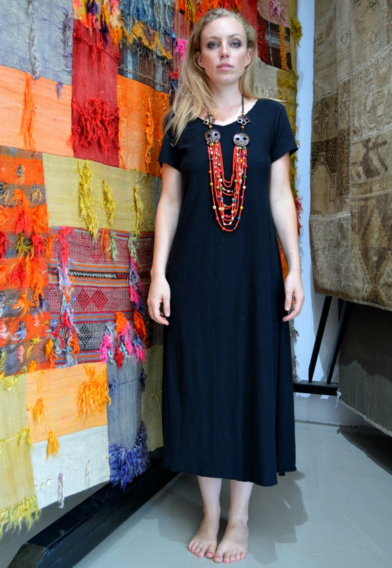 Black Hemp dress, full length short sleeve dress, Light organic Hemp/cotton jersey knit, Made to order-organic hemp clothing