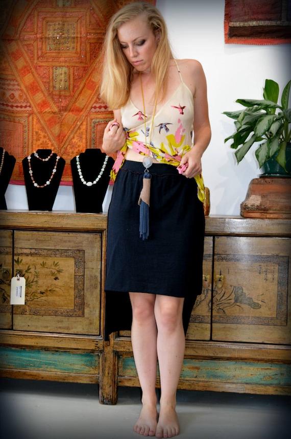 Black Hemp skirt, High low skirt, Light organic Hemp/cotton jersey knit. SPRING SALE 50% OFF. Ready to ship.