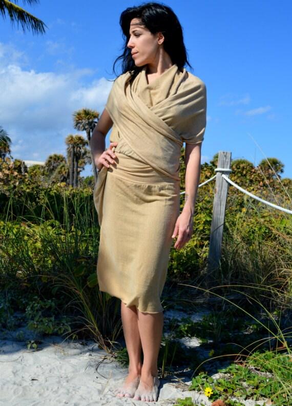 White Tara Below the Knee Devotional Dress. Organic cotton hemp. Made to order. SPRING SALE 50% OFF. Ready to ship.
