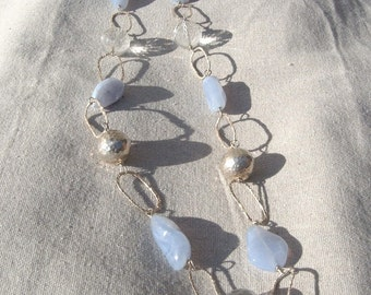Chalcedony, crystal and silver necklace