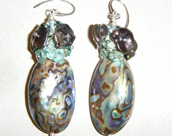 Abalone and Keishi pearl earring