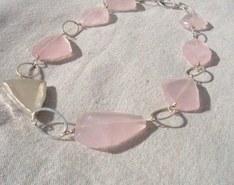 Rose Quartz Freeform necklace