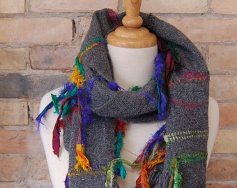 Handwoven Wool Scarf with Recycled Sari Ribbon Accents