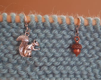 Set of 5 Squirrel and Acorn Stitch Markers for Knitting