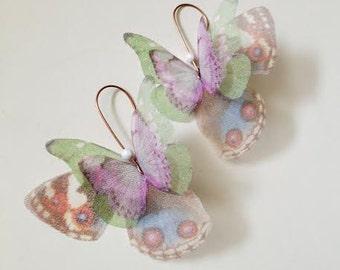 Butterflies all Over Organza Earrings Lavender Green Brown Blue Pair