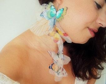 Statement Fluttery Cluster Long Butterflies Earring - Organza  Silk SINGLE