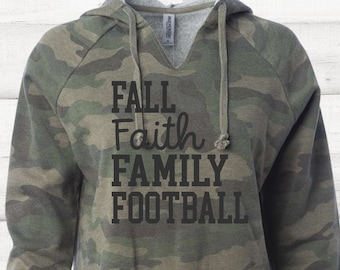 Fall Faith Family Football T-shirt or Hoodie Sweatshirt for Women, Distressed Camo Camouflaged Military Shirt, Trendy Plus Size Clothing