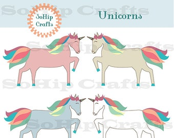 Unicorn Vector,Clipart, Set of 4, EPS/SVG/PNG