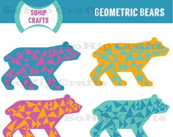 Geometric Bears Vector,Clipart, Set of 4, EPS/SVG/PNG
