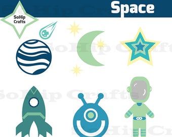 Space Vector,Clipart, Set of 6, EPS/SVG/PNG