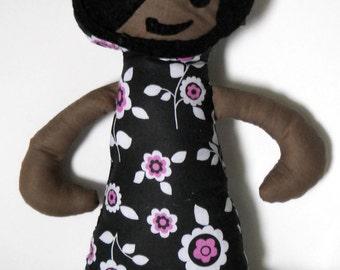 Fabric Doll, Floral Dress Softie, Stuffie