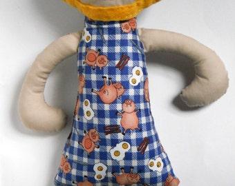Fabric Doll Dressed for Breakfast Softie, Stuffie
