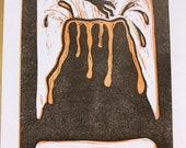 Letterpress cat volcano print