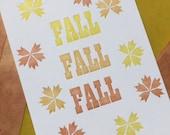 Fall Letterpress Print - free ship