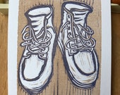Linoblock work boots print