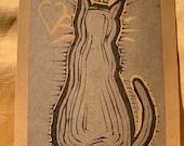Linoblock cat print