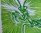 Praying mantis linoblock print