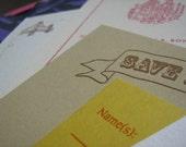 Assorted custom letterpress samples - wedding