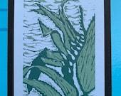 Sea kelp linoblock print