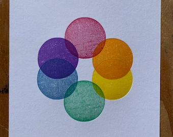 Rainbow circle letterpress print